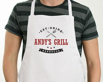 Personalized Eat, Drink, Barbecue Apron, grilling, BBQ, for him, dad, grilling apron, grill gifts, father's day gift -gfy8103637X