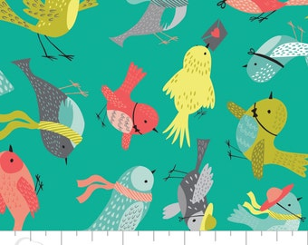 05005 -Camelot Fabrics It's a Birds Life collection - Birdies in turquoise  - 1 yard