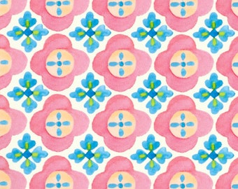 Cotton sewing quilting fabric by the yard - Suzette Pink blue floral stripe - Y0942-2 Cream Clothworks - NOT laminated