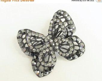 SaLe Vintage Rhinestone Japanned Black Butterfly Brooch