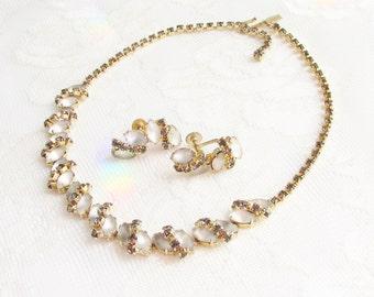 Vintage Smokey Moonglow Rhinestone Necklace Earrings signed Duane
