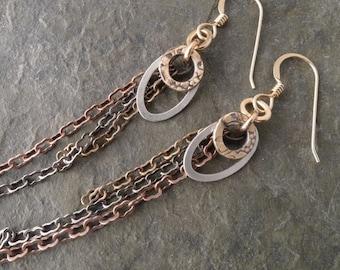 Amrita Earrings ~ oval ~ with Brass Fringe