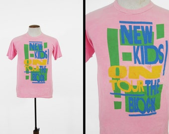 Vintage New Kids On The Block T-shirt Pink Tour Shirt Made in USA - Small / Medium