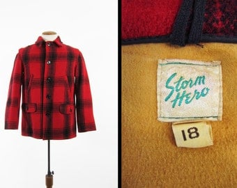 Vintage 40s Mackinaw Hunting Coat Storm Hero Red Plaid Wool Game - Men's Medium