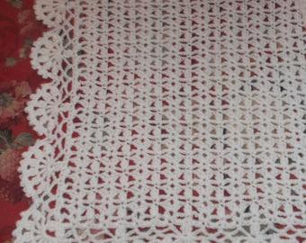 Crocheted White Baby Afghan (bk123)