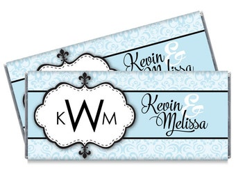 Set of 12 - Power Blue Monogram Wedding Candy Bar Wrappers - Personalized Monogram Wedding Favors