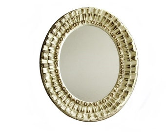 Vintage Wall Mirror Boudoir Oval Molded Frame Hollywood Regency