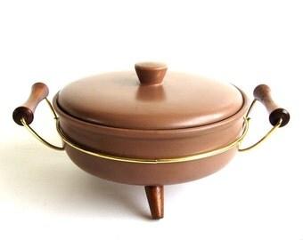 Vintage Bauer Pottery Lidded Casserole and Holder Atomic
