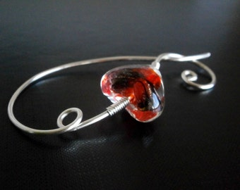 Red Heart Brooch, Shawl Pin, Scarf Pin, knitters jewelry, Wire Wrapped Jewelry
