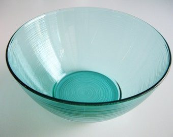 Vintage Glass Salad Bowl Jardiniere Arcoroc Turquoise Made in France