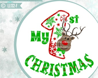 My First Christmas Baby Boy Rudolph Reindeer LL132 F- SVG - Cut File - ai, eps, svg(Cricut), dxf(for Silhouette users), jpg,png