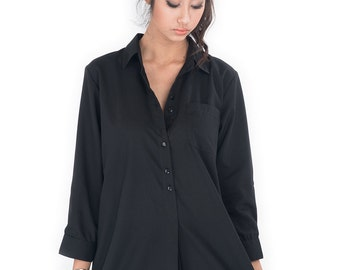 Black Shirt / Long Shirt  / Women's shirt - Tailored assymetrical shirt : Simply Touch Collection No.2