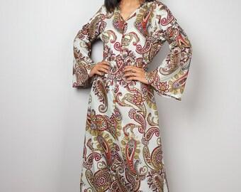 Paisley Dress / Modest Long Maxi Dress / Boho Dress with Paisley Print : Bohemian Soul Collection No.1