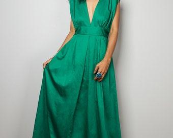 Green Maxi Dress - Long Formal Green dress - Green Dress  : Oriental Secrets Collection II