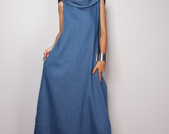 Denim Maxi Dress / Sleeveless Blue Dress with hood / Blue Denim Dress  : The Soul of the Orient Collection No.4