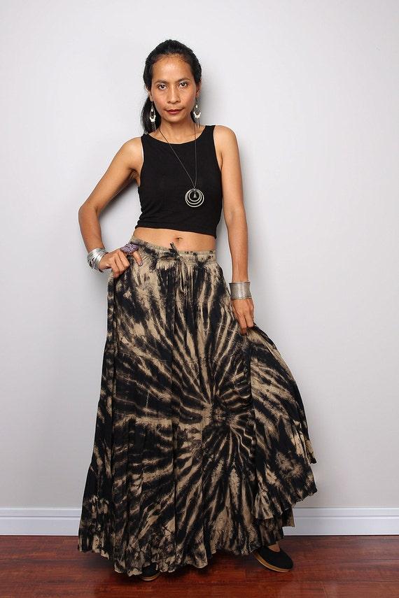 maxi skirt tie dye skirt boho skirt funky collection