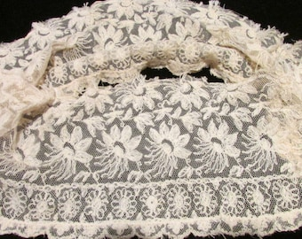 Vintage Wide Ivory Cotton Netted Embroidered Lace, Antique Lace, Vintage Lace Collar, Vintage Sewing Supplies, Vintage  Net Lace