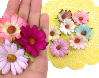 Mulberry Paper Chrysanthemum Flower. Assorted Mulberry Paper Chrysanthemums. 10 colors. Scrapbook Embellishment Paper Flowers. Paper Crafts