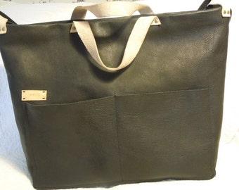 Large Black Leather Laptop/Baby Diaper Tote Shoulder Bag