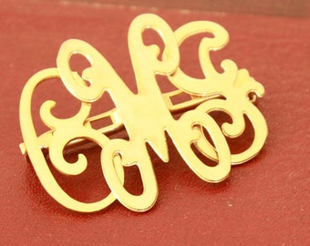 Monogram Pin - Gold Tone Vintage Initial Jewellery - CJM Personalized Jewelry - Collectible Broach Brooch