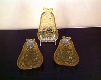 Glass Pear Shaped Candy/Relish/Snack Dishes - set of 3