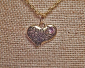 Gold Heart With Antique Pink Swarovski Crystal Necklace