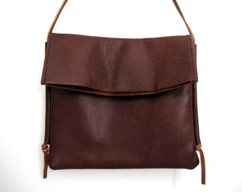 Repurposed Brown Leather Fold-Over Satchel