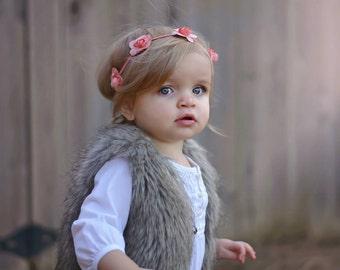 Flower crown headband, flower girl headband, wedding headband, baptism, newborn, infant, child, teen or adult sizes