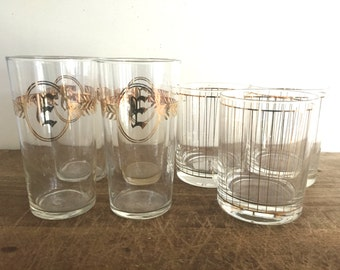 Set of 7 cocktail glass - Mid century modern - Culver   - Monogramed