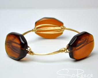 Brown glass beaded BANGLE bracelet