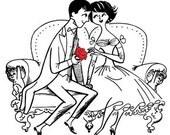 Couple Love Amour Romantic - Digital Image - Vintage Art Illustration - Instant Download