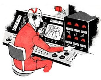 Engineer Televison Announcer Man Microphone Radio Broadcast - Digital Image - Vintage Art Illustration