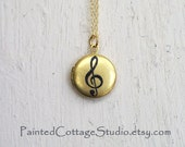 Treble Clef Music Note Gold Color Brass Locket Hand Painted by Michelle Meyer