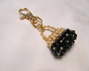 Purse Charm or Zipper Pull in Black and Gold
