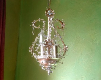 "Chandelier Lighting, Woodland Ice Fairy, One of a Kind, 14""h. x 8""w."