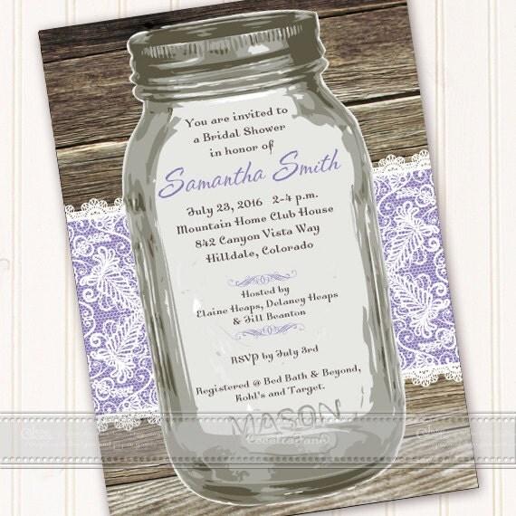 wedding invitations, bridal shower invitations, mason jar bridal shower invitations, lavender bridal shower invitations, IN492