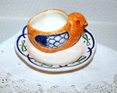 Vintage Henriot Quimper Bird Egg Cup, France Pottery, Signed