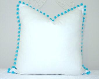 NEW White Pillow Aqua Blue Pom Poms Fun Pom Pom Pillow Cover White & Aqua Blue