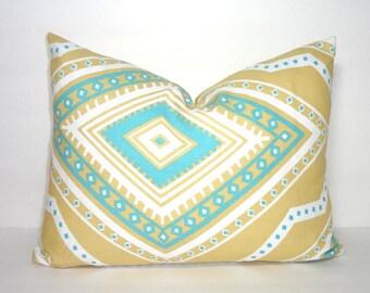 SALE Decorative Accent Pillow Cover Gita Coastal Blue Saffron Yellow Geometric Pillow Cover 12x16