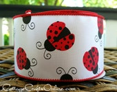 "Wired Ribbon 2 1/2"" Red Lady bugs on White Satin - TEN YARD ROLL -  ""Ladybug"" Spring, Summer Craft Decor Wire Edged Ribbon"