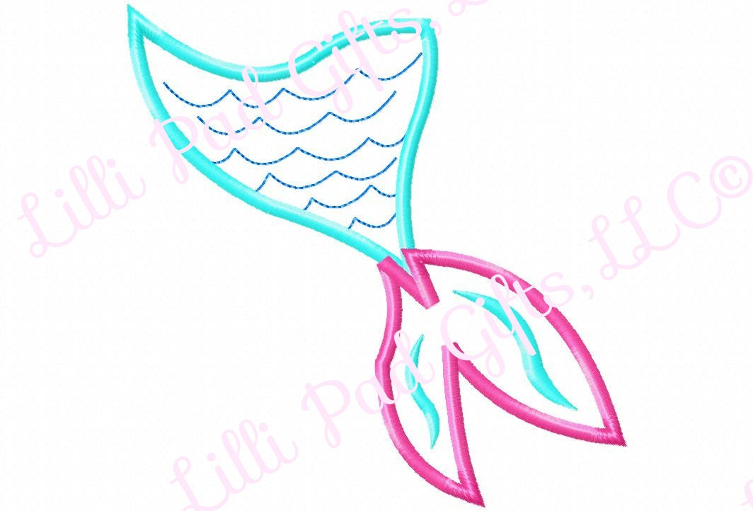 Mermaid tail applique only machine embroidery