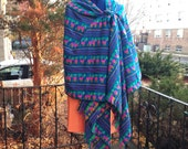 3 Yard Fabric Rebozo - Mexican Cambaya Shawl- Teal Tribal Pattern - Doula and Midwife Labour Tools