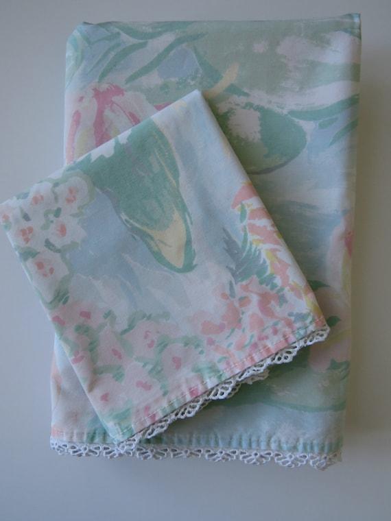 Vintage Twin Flat Sheet Single Pillowcase By Martex Water