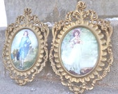 Pair of Gorgeous ORNATE Gold Picture Frames With Convex Glass Vintage