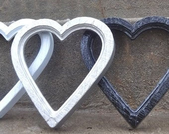 Glossy Black HEART Picture Frame Wedding Nursery Wall Valentines Day Gift