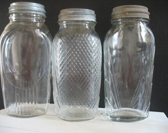 Vintage Glass Jars - Kitchen Storage - Zinc Lids