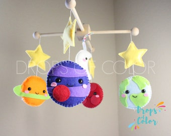 Planets Mobile, Baby Mobile, Baby Crib Mobile, Solar System, Space, Earth, Saturn, Stars and Moon, Nursery Decor, Handmade Felt