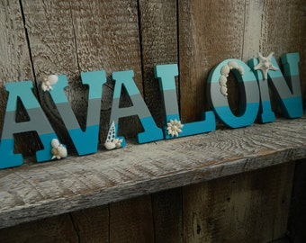 Custom Handpainted Beach Stripe Letters with Seashells