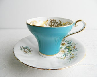Vintage Tuquoise Blue Mismatched Tea Cup & Saucer - Aynsley Teacup and KHL Daffodil Plate