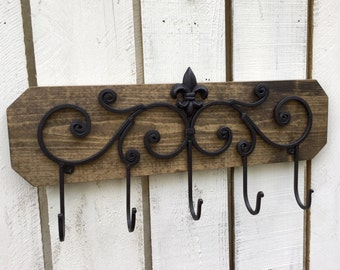 Wall decor. Home accents,coat rack/key holder, Fleur di lis hooks